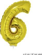 Helium Ballon Nummer 6 - Goud - 41 Cm