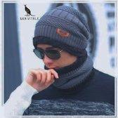 San Vitale Muts en sjaal - One size - Grijs/zwart