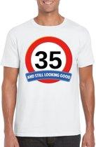 35 jaar and still looking good t-shirt wit - heren - verjaardag shirts XL