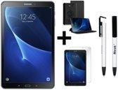 Samsung Galaxy Tab A (2016) - WiFi - Zwart + 360 graden draaibaar hoes Zwart + Tempered glass + Ntech 4 in 1 stylus pen