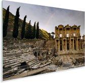 Regenboog boven ruïnes van de bibliotheek in het Turkse Efeze Plexiglas 90x60 cm - Foto print op Glas (Plexiglas wanddecoratie)