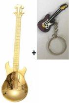 Theelepel gitaar goudkleur RVS 2 stuks + gitaar sleutelhanger