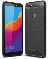 Teleplus Huawei Y7 2018 Special Carbon and Silicone Case Black + Full Covering Glass