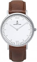 Kapten & Son Mod. Campus White Silver Brown Leather - Horloge