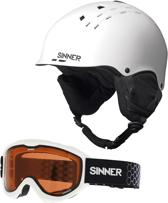 Sinner Combi-Pack ( Pincher + Lakeridge ) Unisex Skihelm & -bril - Matte White - S/56 cm