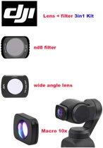 DJI osmo pocket LENS en FILTER kit 3 stuks macro + wide angle lens + nd8(neutral density filter)