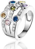 Montebello Ring Colors - Dames - Zilver Gerhodineerd - Zirkonia - Maat 50 - 16