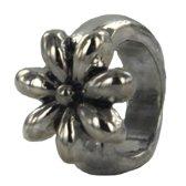 Quiges - Verzilverde Aanschuif Charm Bedel Flower voor Quiges Wikkelarmbanden