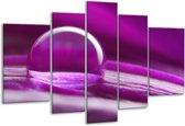 Glasschilderij Druppels | Paars, Wit | 170x100cm 5Luik | Foto print op Glas |  F001459