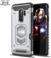Ntech Samsung Galaxy S9 Plus Luxe Armor Case met Pashouder - Zilver
