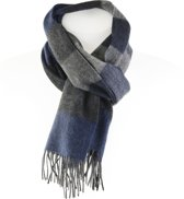 Wollen Sjaal - Zachte blauw grijze sjaal - Warme wintersjaal