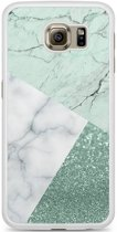 Samsung Galaxy S6 hoesje - Minty marmer collage