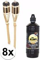 8 complete bamboe tuinfakkels 61 cm incl fakkel olie navulling