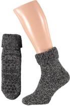 Apollo Huissokken met wol met antislip zwart - Unisex - Maat 43-46