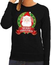 Foute kersttrui / sweater Santa - zwart - Merry Christmas voor dames M (38)