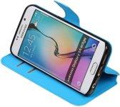 Blauw Samsung Galaxy S6 Edge TPU wallet case - telefoonhoesje - smartphone hoesje - beschermhoes - book case - booktype hoesje HM Book