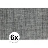 6x Placemats met geweven print grijs 45 x 30 cm