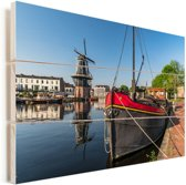 Stadsbeeld van Haarlem in Noord-Holland Vurenhout met planken 120x80 cm - Foto print op Hout (Wanddecoratie)
