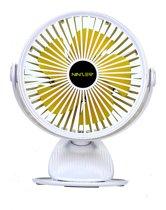 Ninzer Stille Fan Tafelventilator 360° Draaibaar met Clip en Ingebouwde Oplaadbare Batterij   Wit