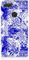 Huawei P Smart Uniek Standcase Hoesje Angel Skull Blue