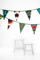 Stoere stoffen feestslinger (11 meter, 22 vlaggetjes)