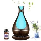 Devacieux Luchtbevochtiger Aromatherapie + 10 ML Etherische olie - Aroma Diffuser 400 ML Donkerbruin - Olie Diffuser -