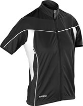 Women's Spiro bikewear full zip top, Kleur Black, Maat XL
