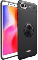 Teleplus Xiaomi Redmi 6A Ravel Ring Silicone Case Black + Nano Screen Protector hoesje