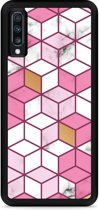 Galaxy A70 Hardcase hoesje Pink-gold-white Marble