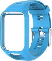 Siliconen horloge bandje – Wrist strap – Polsband - Geschikt voor Tomtom Adventurer - Golfer 2 - Spark - Runner 2/3 - Blauw