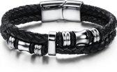 Armband- Zwart- Frank- Zilverkleur- Leer