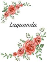 Laquanda: Personalized Composition Notebook - Vintage Floral Pattern (Red Rose Blooms). College Ruled (Lined) Journal for School