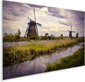 De Molens van Kinderdijk in het Europese Nederland Plexiglas 90x60 cm - Foto print op Glas (Plexiglas wanddecoratie)