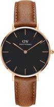 Daniel Wellington Classic Black Petite Durham DW00100166 - Horloge - Leer - Bruin - Ø 32mm