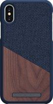 Nordic Elements Frejr backcover voor Apple iPhone X/Xs -  Walnoot hout / donkerblauw textiel