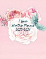 5 Year Planner: 2020-2024 - Pink Roses Design -2 Page Monthly Calendar Spread with Inspirational Gratitude Quotes and Yearly Goal Plan