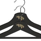 Mr. & Mr. Kledinghanger Setje - Crème Lettertype - Zwarte Kledinghangers - Bruiloft Accessoire