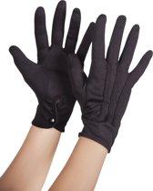 24 stuks: Handschoenen pols Basic met drukknop - zwart