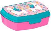 Broodtrommel kinderen - Meisje - Alpaca - Lunchbox - Lunchtrommel - Roze blauw