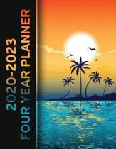Tropical Island Sunset 2020 - 2023 Four Year Planner: Monthly Calendar, Notebook and More!