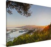 Uitzicht op de haven van Málaga Canvas 30x20 cm - klein - Foto print op Canvas schilderij (Wanddecoratie woonkamer / slaapkamer) / Europese steden Canvas Schilderijen