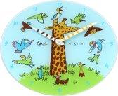 NeXtime Giraffe Joy - Klok - Rond - Glas - Ø30 cm - Blauw