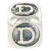 Quiges Bedel Bead - 925 Zilver - Alfabet Letter D Kraal - Z427