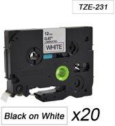 20x Tze-231 TZ231 Compatible voor Brother P-touch Label Tapes- Zwart op Wit - 12mm