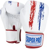 Super Pro Combat Gear Warrior Lederen (kick)bokshandschoenen Rood/Wit/Blauw 12oz