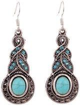 Vintage oorbellen met strass steentjes van Tibetaans zilverkleurig