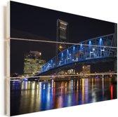 De blauwe Main Street Bridge in de nacht van Jacksonville Vurenhout met planken 120x80 cm - Foto print op Hout (Wanddecoratie)