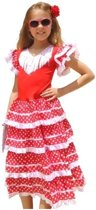 Spaanse jurk - Flamenco - Rood/Wit - Maat 116/122 (8) - Verkleed jurk