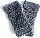2 Love it Gemêleerd Grijs - Handschoenen - Vingerloos - Acryl - Grijs - Zwart