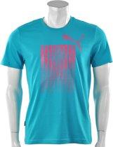 Puma - Ess Graphic Logo Tee - Blauw - Maat L